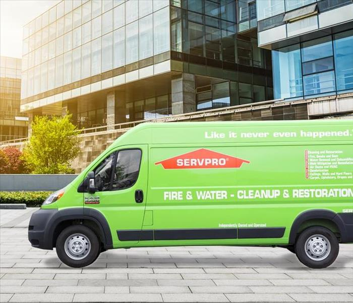 A picture of a SERVPRO van outside
