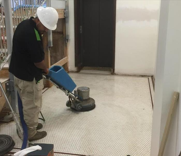 Cleaning Restoring 1928 Ceramic Tile Flooring in Downtown Houston Church
