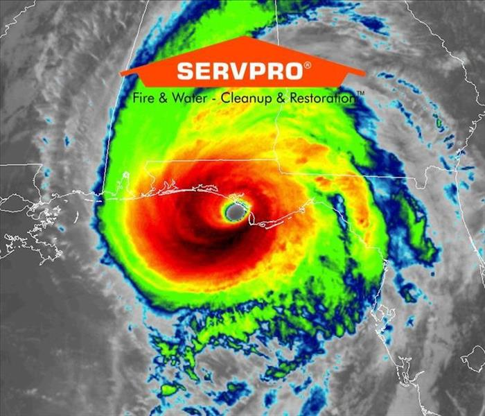 A strong category 5 hurricane forecast is shown with the SERVPRO logo at the top middle of the picture.